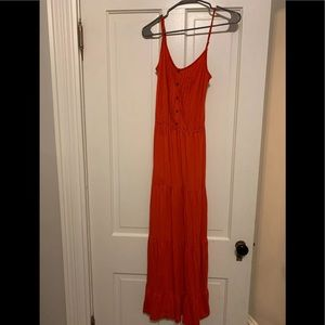 Ella Moss Red Tiered Maxi Dress XS Sleeveless